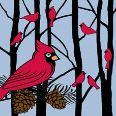 Cardinals On Pinecones