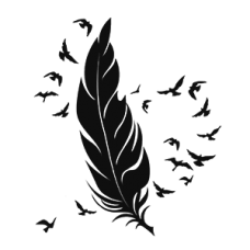 Feather with Flying Birds