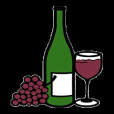 Wine Bottle, Glass & Grapes (napa)