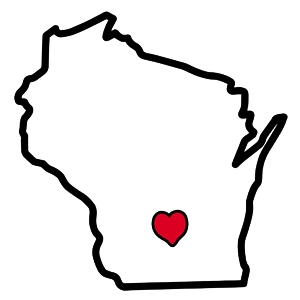 Wisconsin Outline Heart